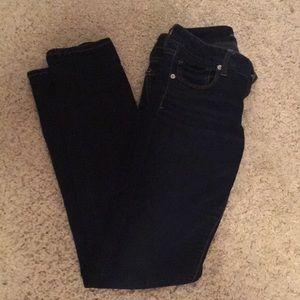 AE skinny long blue jeans